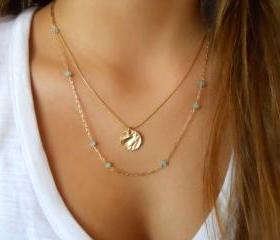 Layered Gold Necklace Set; Gemstone Beads and Gold Necklace; Gold Coin Necklace; Delicate Necklace Set;Pick Your Stone Color