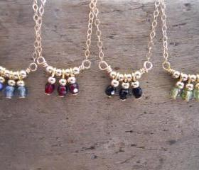 Beads Pendant necklace. Delicate Gold Filled Necklace. Pick Your Color.